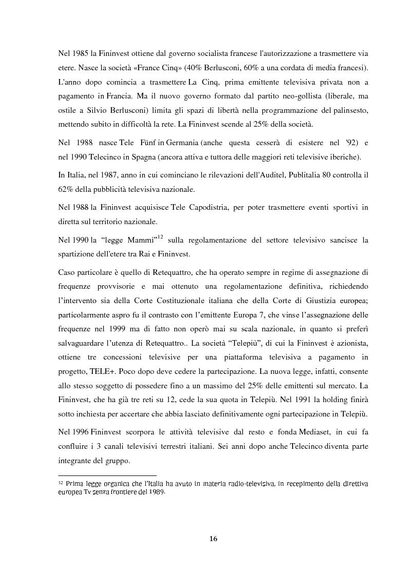 Anteprima della tesi: Sinergie e strategie di riposizionamento dei grandi player tv italiani, Pagina 13