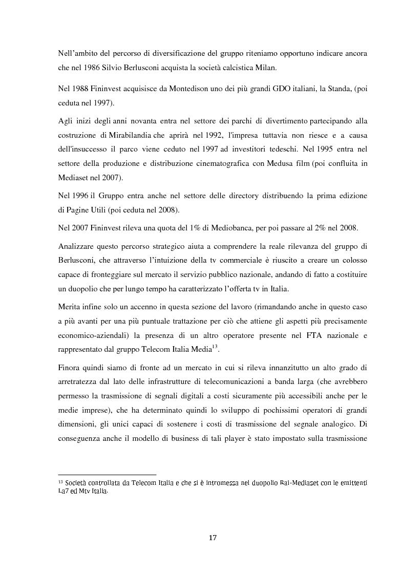Anteprima della tesi: Sinergie e strategie di riposizionamento dei grandi player tv italiani, Pagina 14