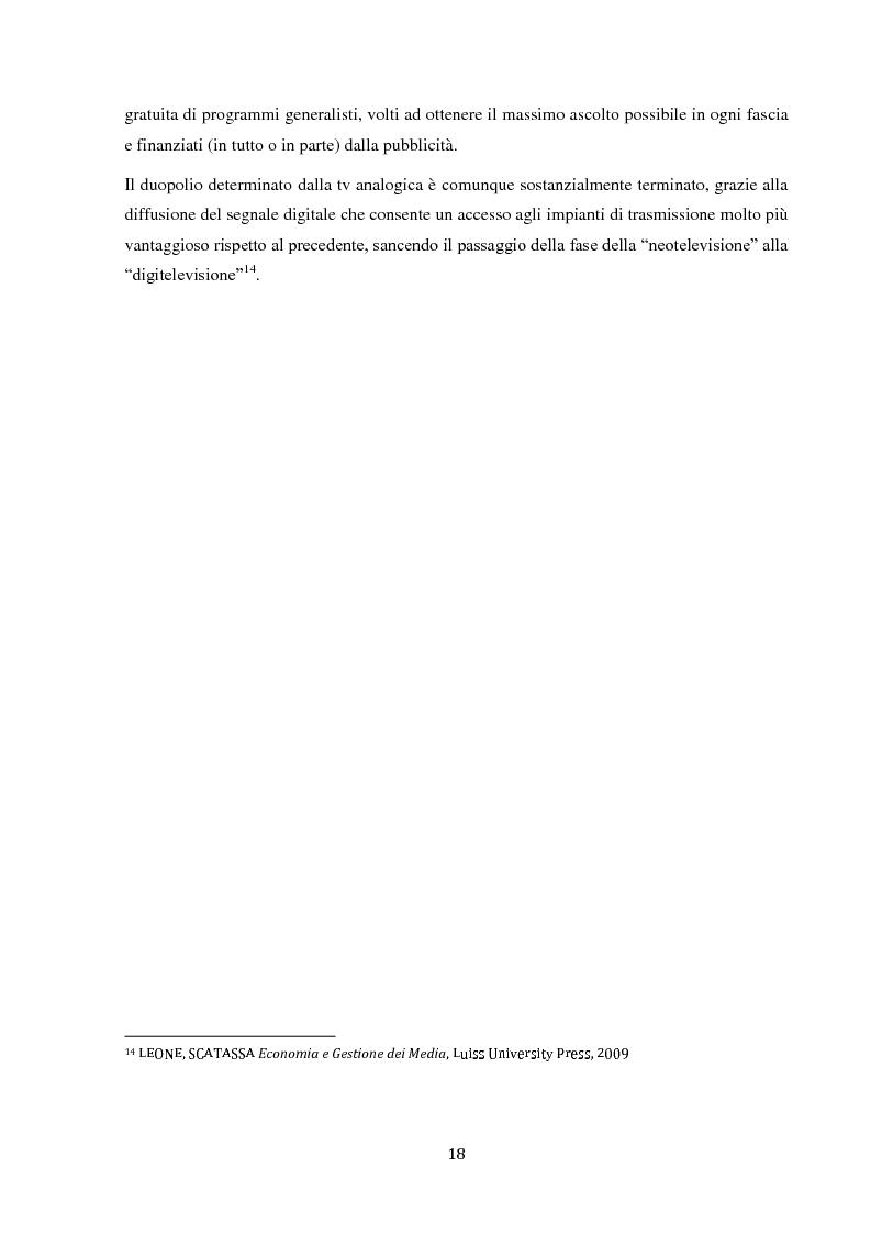 Anteprima della tesi: Sinergie e strategie di riposizionamento dei grandi player tv italiani, Pagina 15