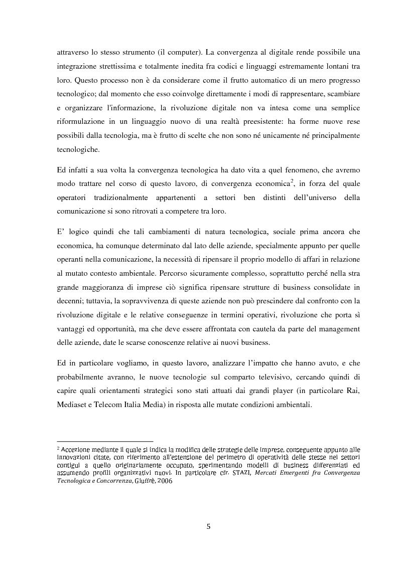 Anteprima della tesi: Sinergie e strategie di riposizionamento dei grandi player tv italiani, Pagina 2