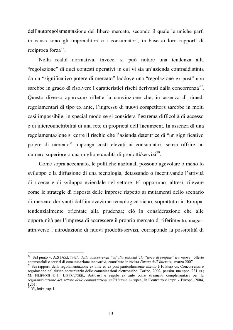 Anteprima della tesi: Innovazione e concorrenza nei mercati delle telecomunicazioni. La separazione delle reti Telecom., Pagina 10