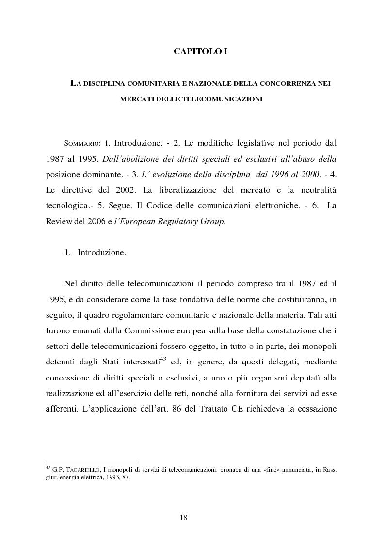 Anteprima della tesi: Innovazione e concorrenza nei mercati delle telecomunicazioni. La separazione delle reti Telecom., Pagina 15