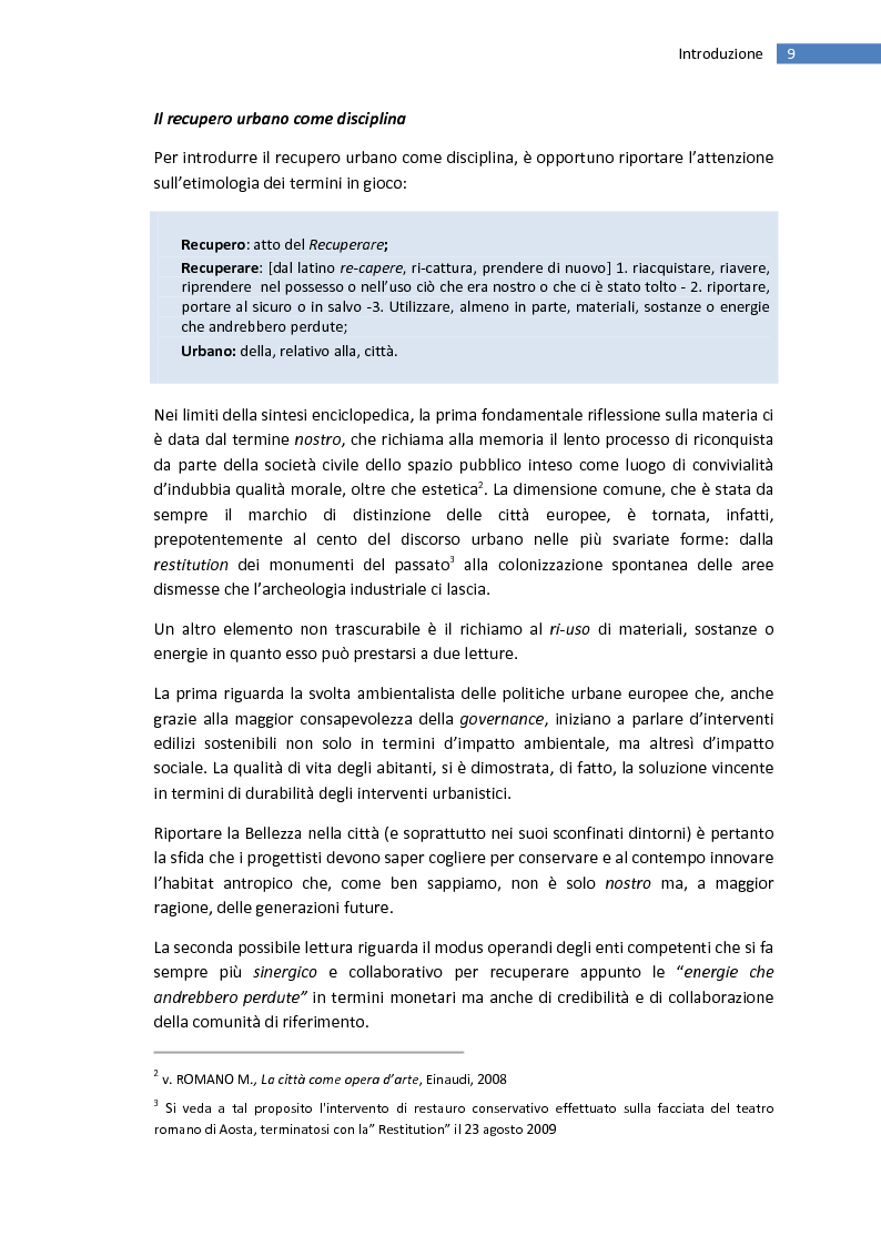 Anteprima della tesi: La trasformazione della città mediterranea. Aspetti innovativi del recupero., Pagina 1
