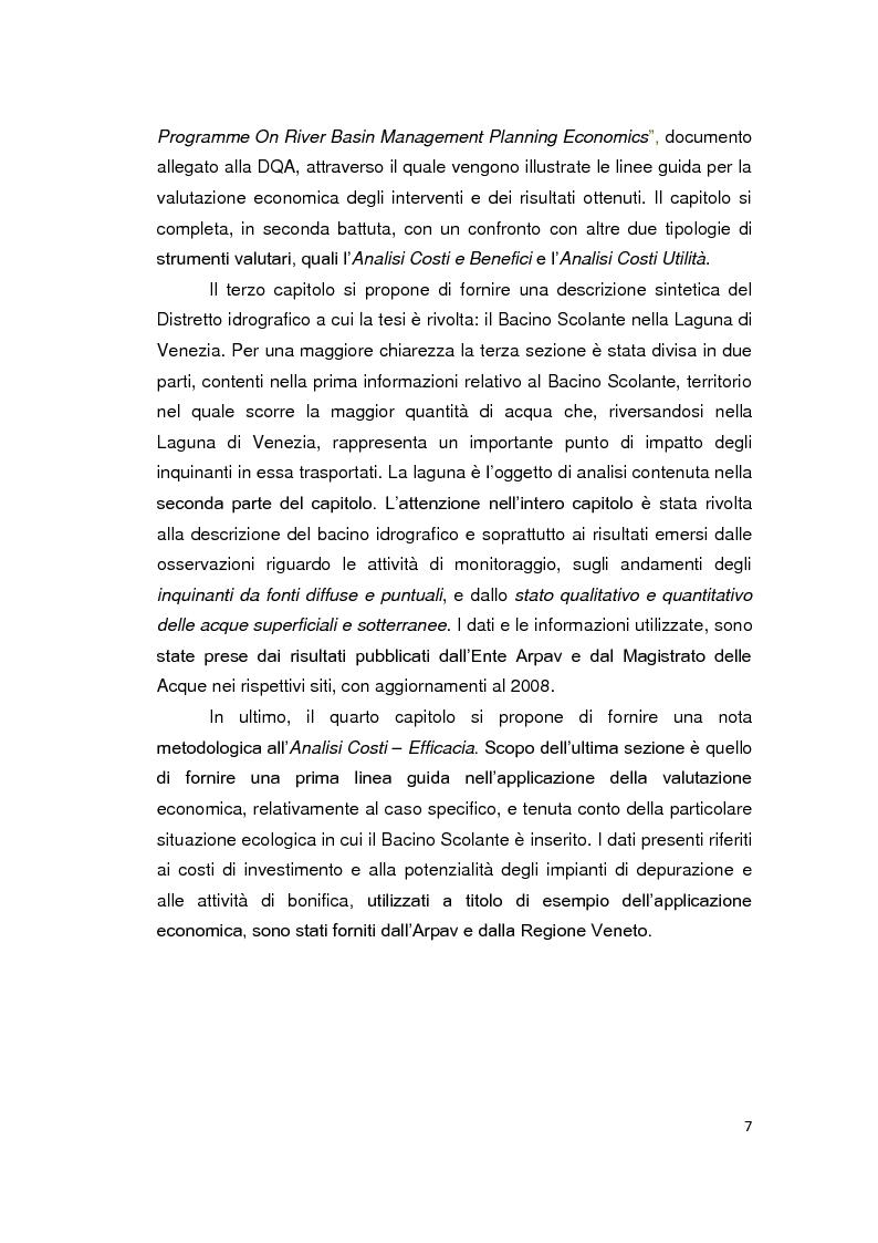 Anteprima della tesi: La Direttiva Quadro 2000/60 Ce e il Bacino scolante nella Laguna di Venezia: un approccio all'analisi costi - efficacia, Pagina 2