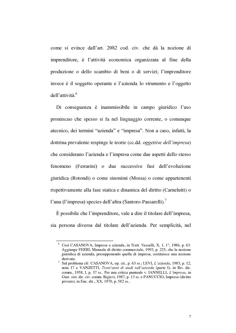 Anteprima della tesi: Circolazione dell'azienda e divieto di concorrenza nella giurisprudenza, Pagina 3