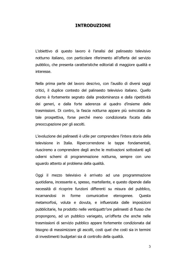 Anteprima della tesi: Rai notte. Qualità nei palinsesti notturni del servizio pubblico televisivo., Pagina 1
