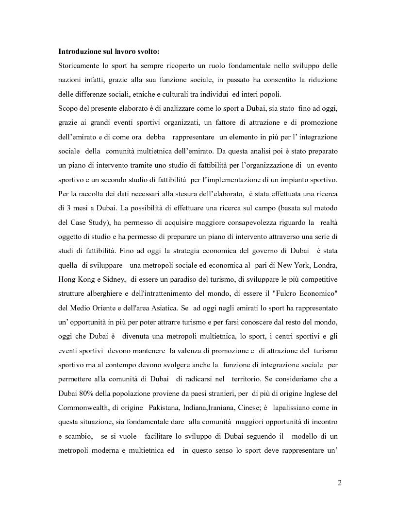 Anteprima della tesi: L'industria sportiva a Dubai e negli Emirati Arabi Uniti, Pagina 1