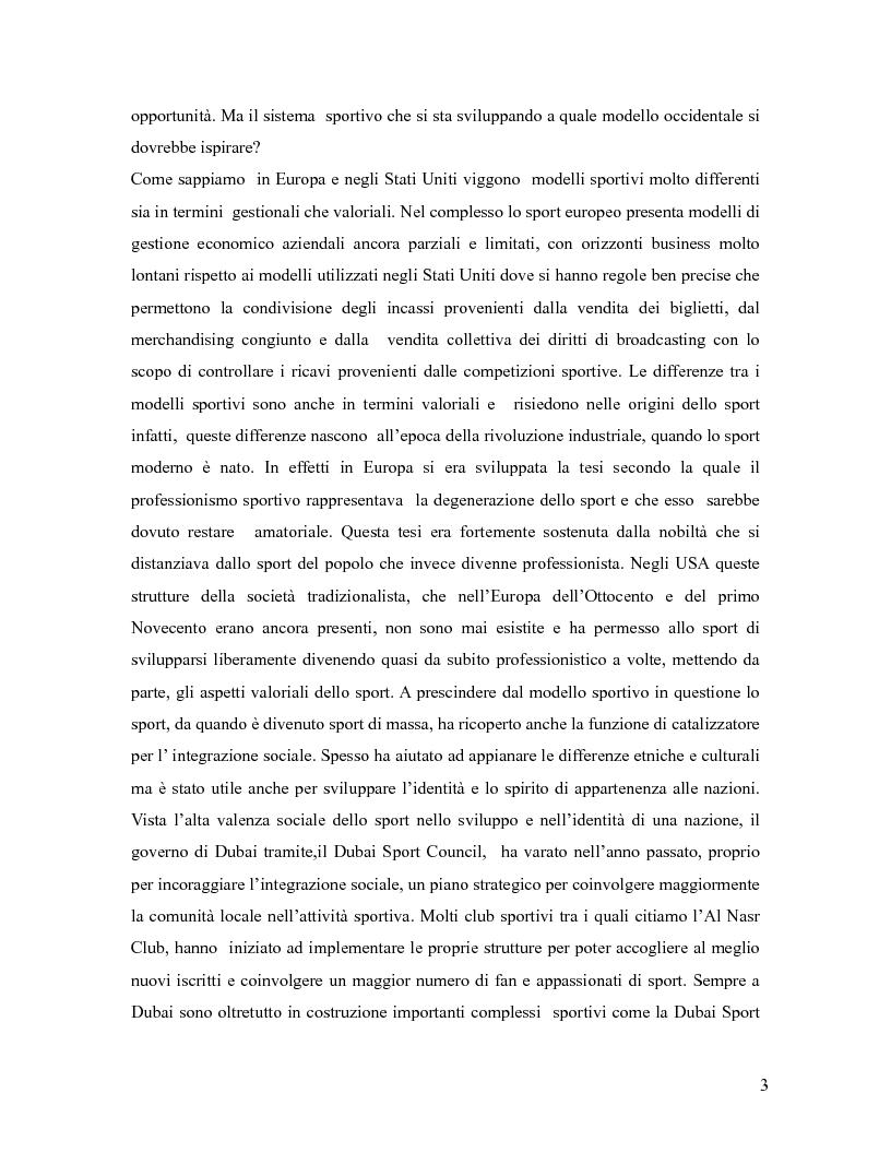 Anteprima della tesi: L'industria sportiva a Dubai e negli Emirati Arabi Uniti, Pagina 2