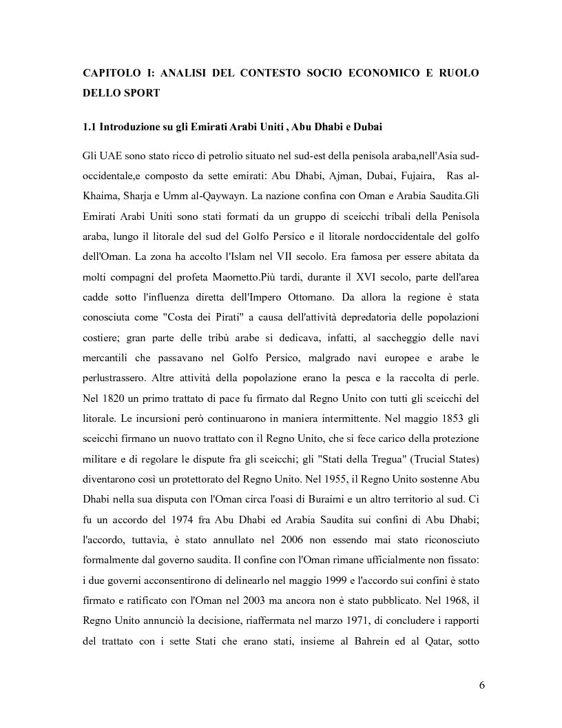 Anteprima della tesi: L'industria sportiva a Dubai e negli Emirati Arabi Uniti, Pagina 5