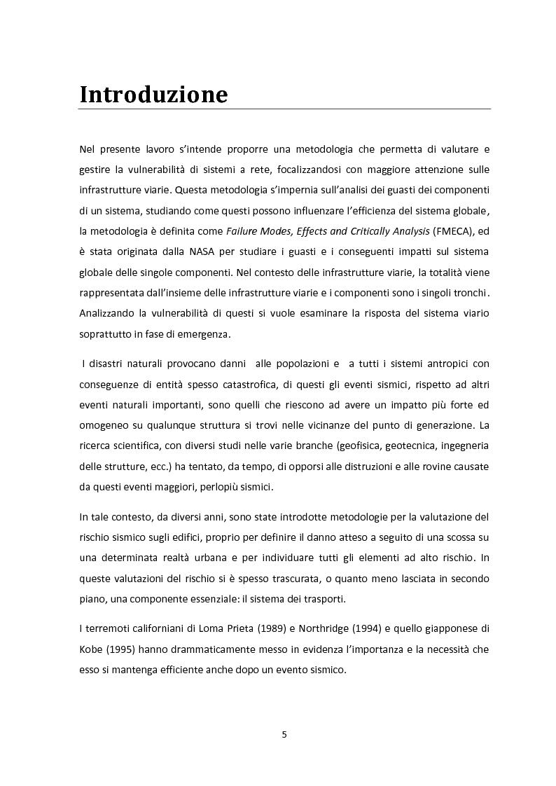 Anteprima della tesi: Analisi dei guasti applicata alla vulnerabilità sismica delle infrastrutture viarie, Pagina 1