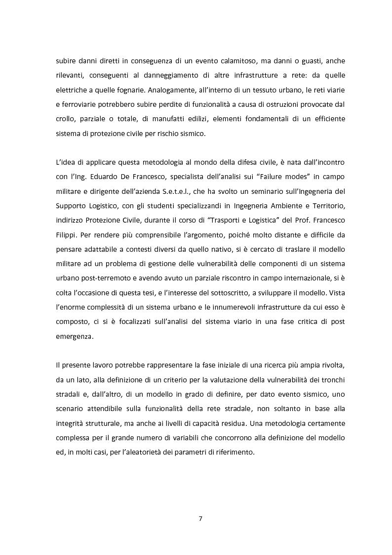 Anteprima della tesi: Analisi dei guasti applicata alla vulnerabilità sismica delle infrastrutture viarie, Pagina 3
