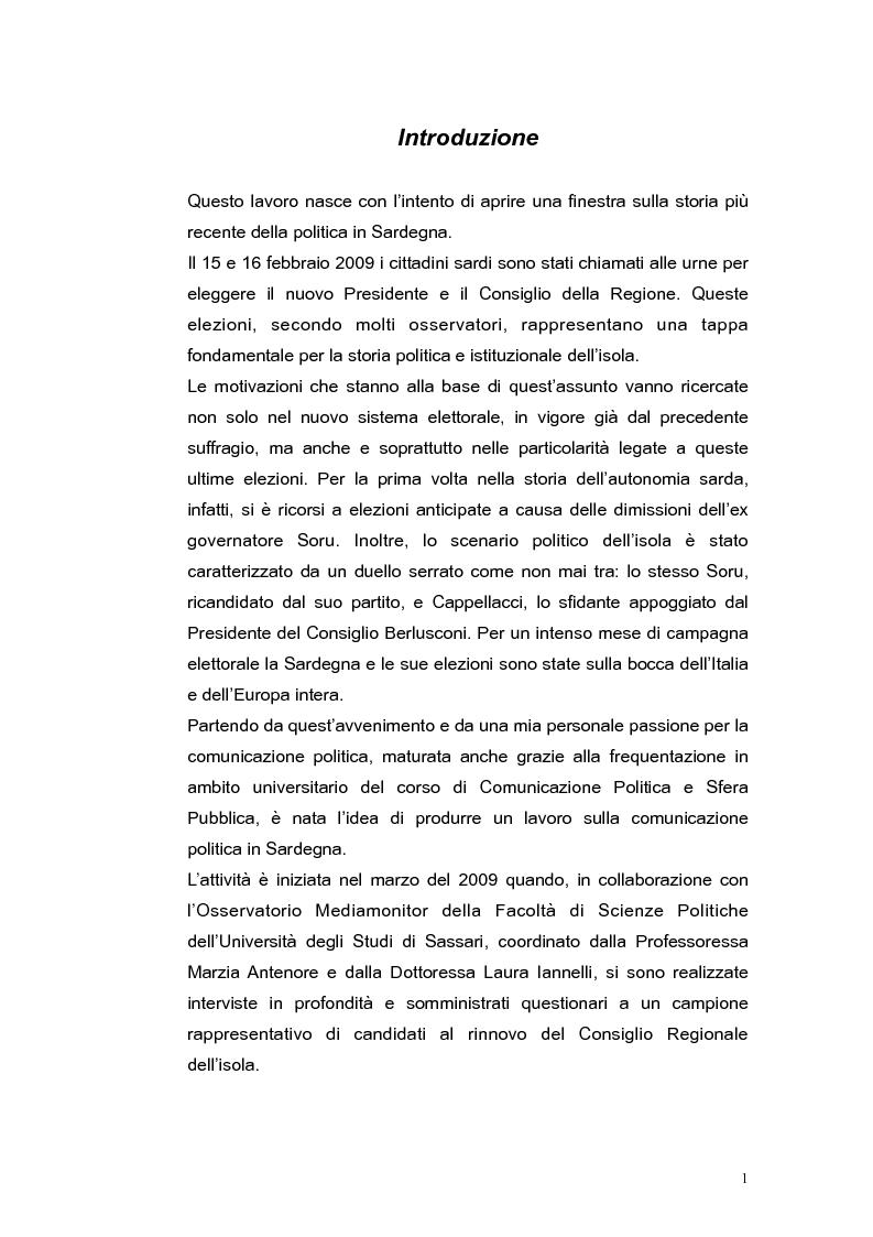 Anteprima della tesi: Elezioni regionali Sardegna 2009: analisi degli strumenti di comunicazione politica, Pagina 1