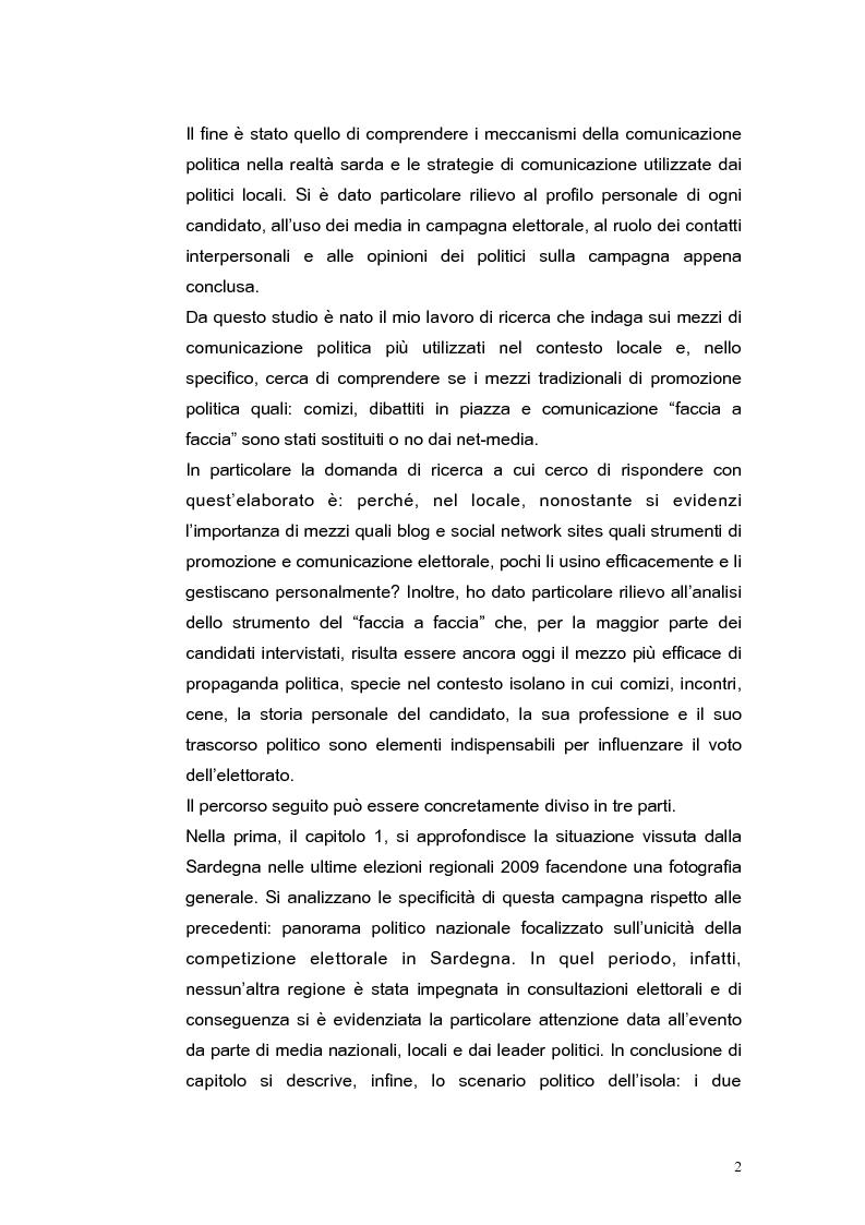 Anteprima della tesi: Elezioni regionali Sardegna 2009: analisi degli strumenti di comunicazione politica, Pagina 2