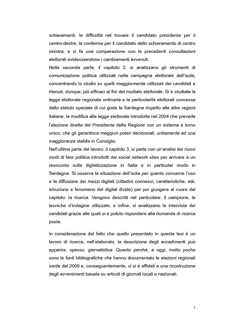 Anteprima della tesi: Elezioni regionali Sardegna 2009: analisi degli strumenti di comunicazione politica, Pagina 3