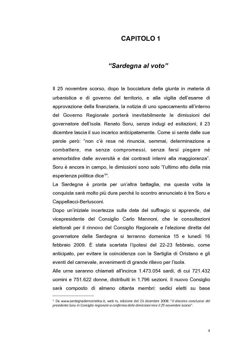Anteprima della tesi: Elezioni regionali Sardegna 2009: analisi degli strumenti di comunicazione politica, Pagina 4