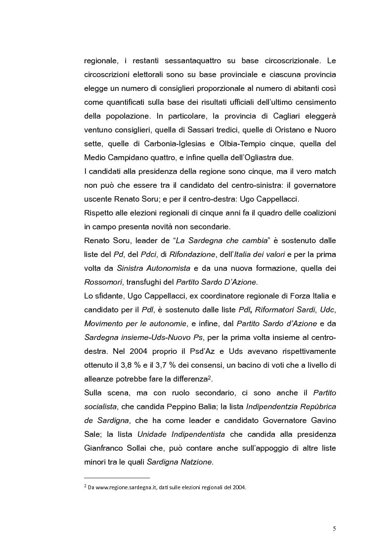 Anteprima della tesi: Elezioni regionali Sardegna 2009: analisi degli strumenti di comunicazione politica, Pagina 5