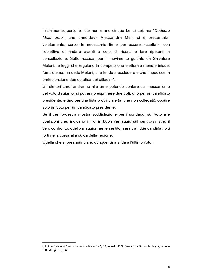 Anteprima della tesi: Elezioni regionali Sardegna 2009: analisi degli strumenti di comunicazione politica, Pagina 6