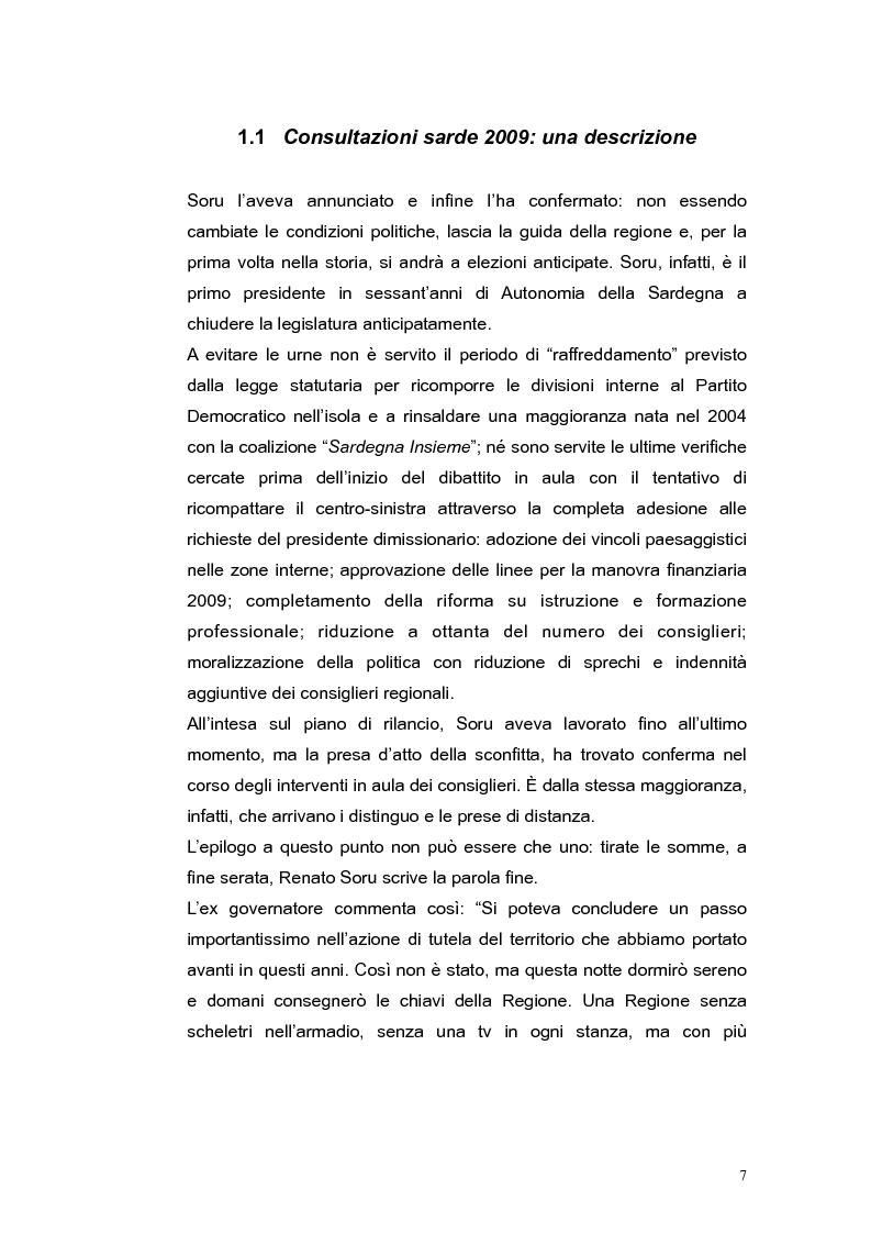 Anteprima della tesi: Elezioni regionali Sardegna 2009: analisi degli strumenti di comunicazione politica, Pagina 7