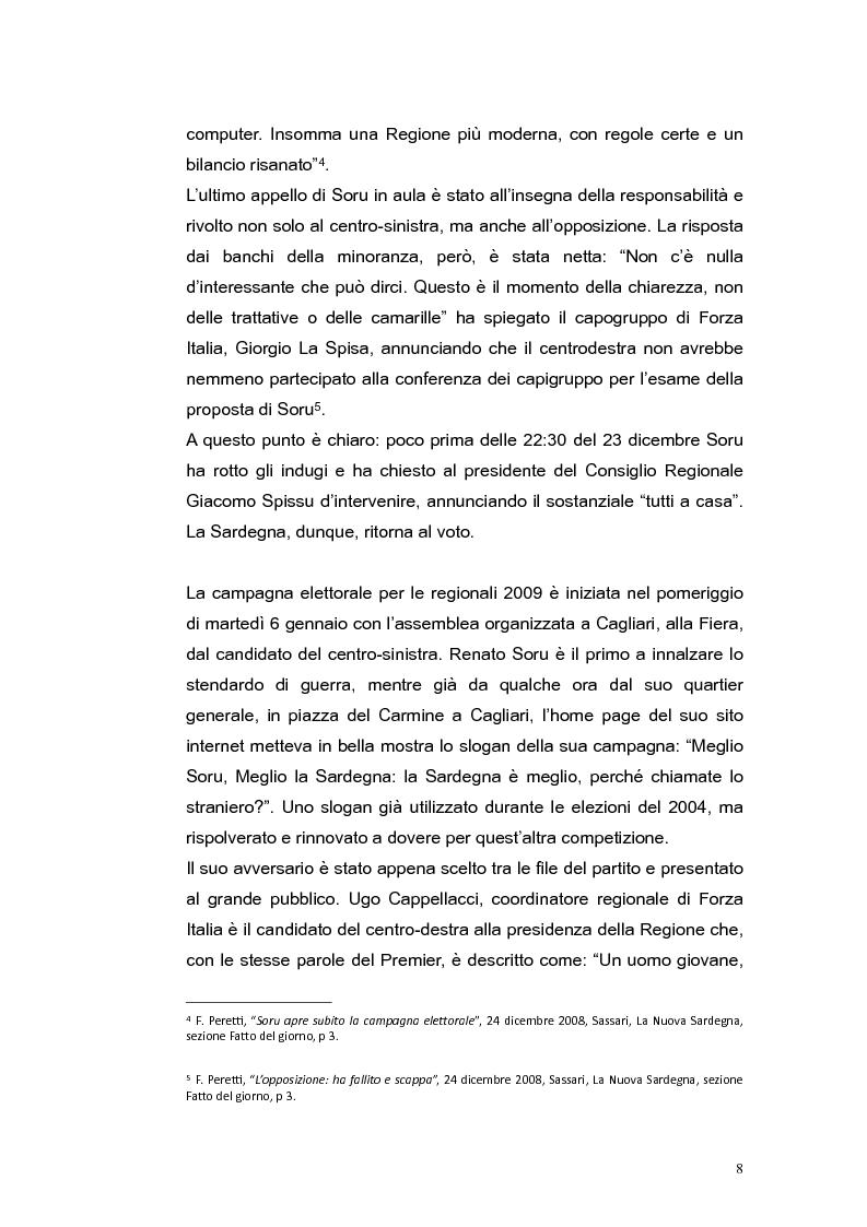 Anteprima della tesi: Elezioni regionali Sardegna 2009: analisi degli strumenti di comunicazione politica, Pagina 8