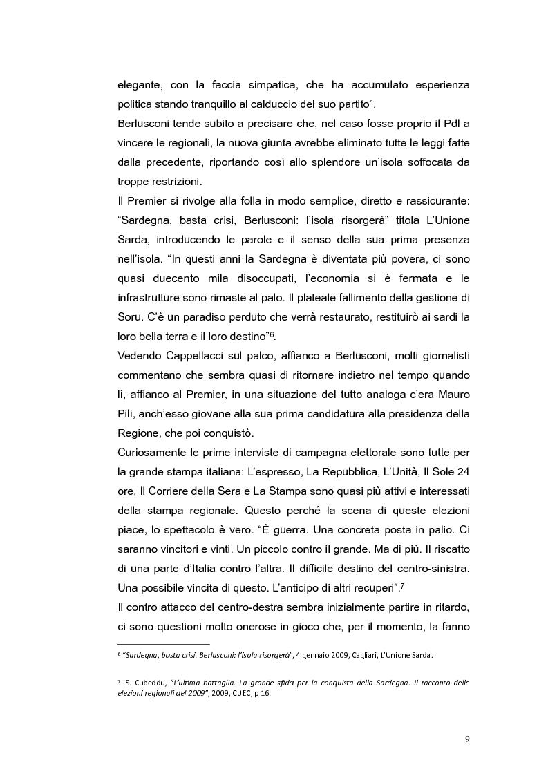 Anteprima della tesi: Elezioni regionali Sardegna 2009: analisi degli strumenti di comunicazione politica, Pagina 9