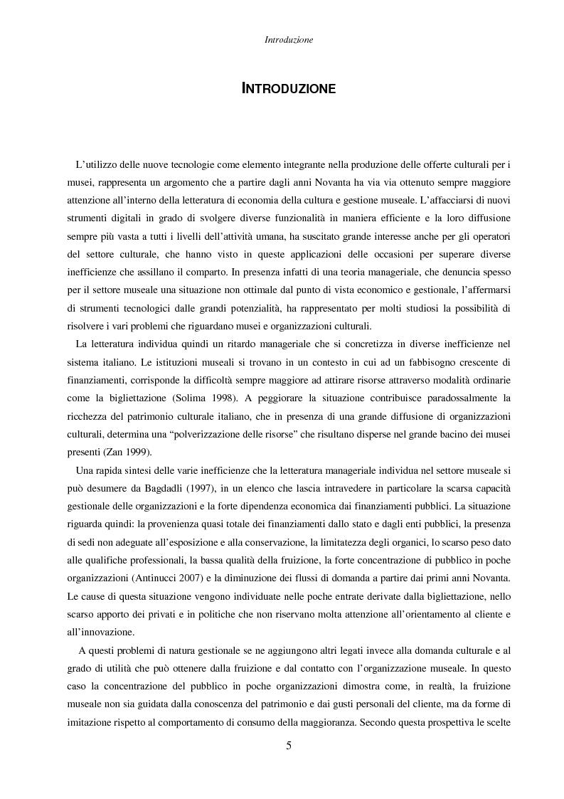Anteprima della tesi: Internet e nuove tecnologie nel settore museale: ipotesi e strumenti per un approccio immateriale alla creazione del valore, Pagina 1