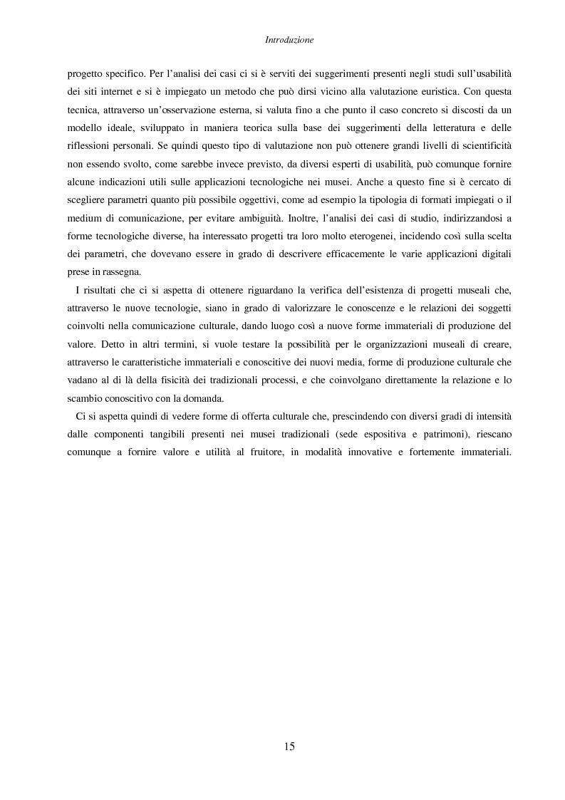 Anteprima della tesi: Internet e nuove tecnologie nel settore museale: ipotesi e strumenti per un approccio immateriale alla creazione del valore, Pagina 11