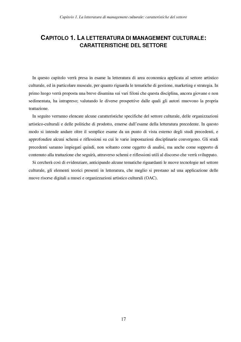 Anteprima della tesi: Internet e nuove tecnologie nel settore museale: ipotesi e strumenti per un approccio immateriale alla creazione del valore, Pagina 13
