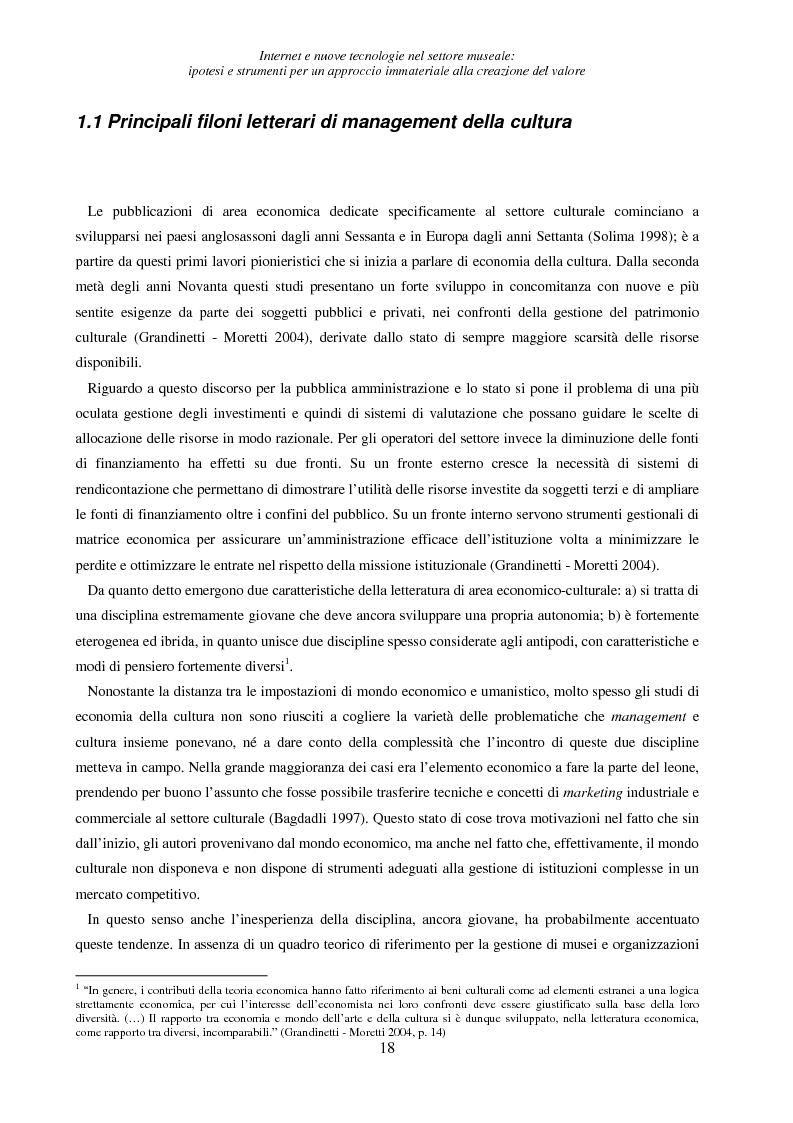 Anteprima della tesi: Internet e nuove tecnologie nel settore museale: ipotesi e strumenti per un approccio immateriale alla creazione del valore, Pagina 14