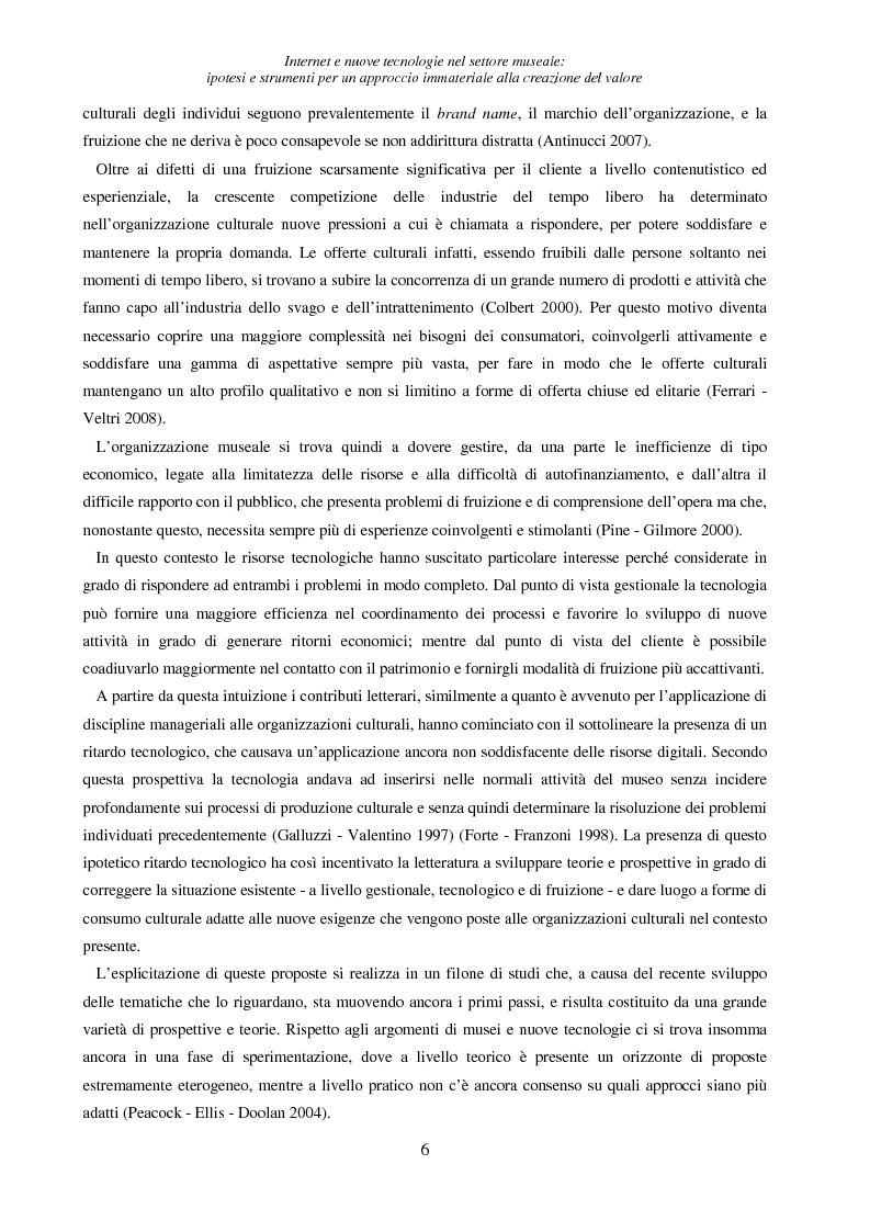 Anteprima della tesi: Internet e nuove tecnologie nel settore museale: ipotesi e strumenti per un approccio immateriale alla creazione del valore, Pagina 2