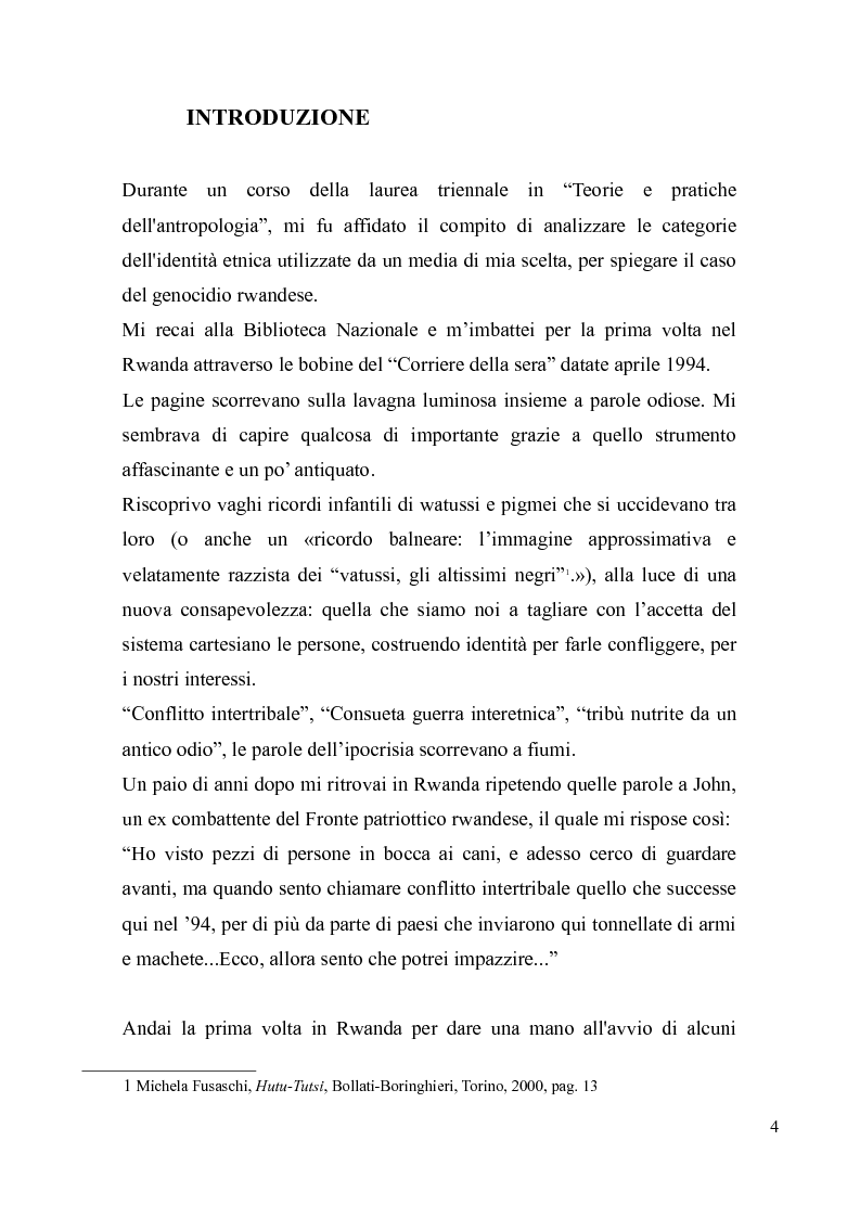 Anteprima della tesi: Voci e sguardi del Rwanda. Il genocidio tra distorsioni giornalistiche e rappresentazioni rwandesi., Pagina 2