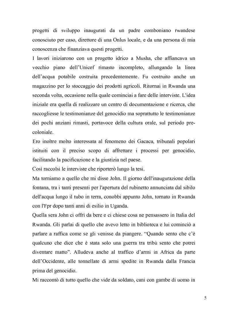 Anteprima della tesi: Voci e sguardi del Rwanda. Il genocidio tra distorsioni giornalistiche e rappresentazioni rwandesi., Pagina 3