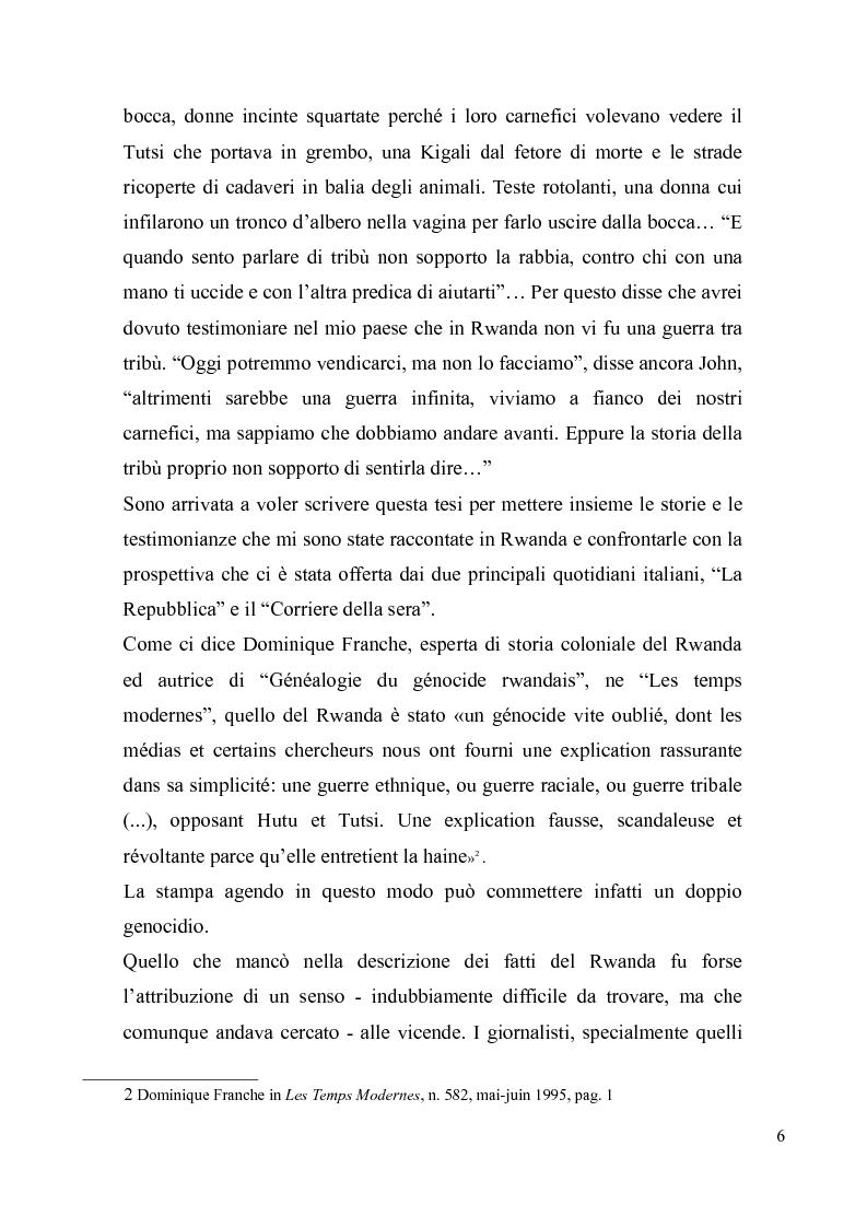 Anteprima della tesi: Voci e sguardi del Rwanda. Il genocidio tra distorsioni giornalistiche e rappresentazioni rwandesi., Pagina 4