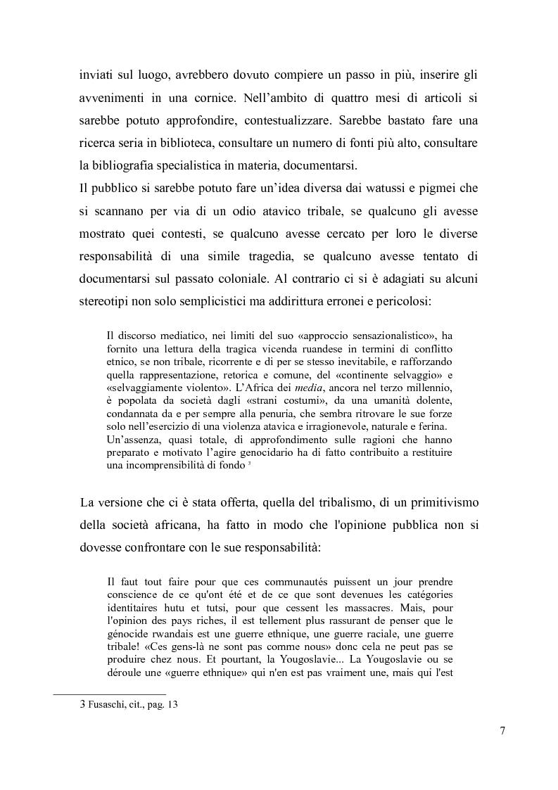 Anteprima della tesi: Voci e sguardi del Rwanda. Il genocidio tra distorsioni giornalistiche e rappresentazioni rwandesi., Pagina 5