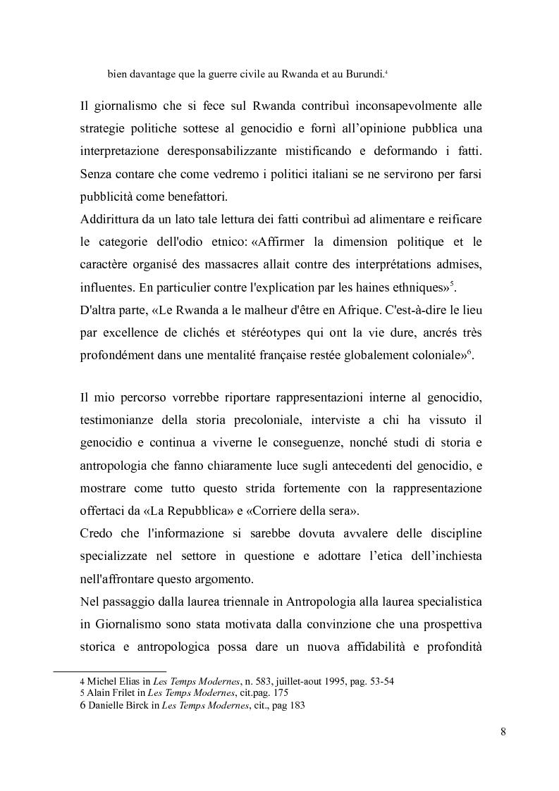 Anteprima della tesi: Voci e sguardi del Rwanda. Il genocidio tra distorsioni giornalistiche e rappresentazioni rwandesi., Pagina 6