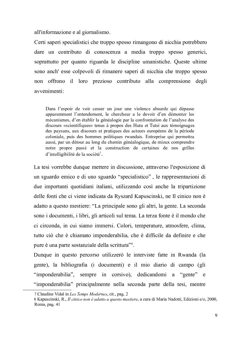 Anteprima della tesi: Voci e sguardi del Rwanda. Il genocidio tra distorsioni giornalistiche e rappresentazioni rwandesi., Pagina 7