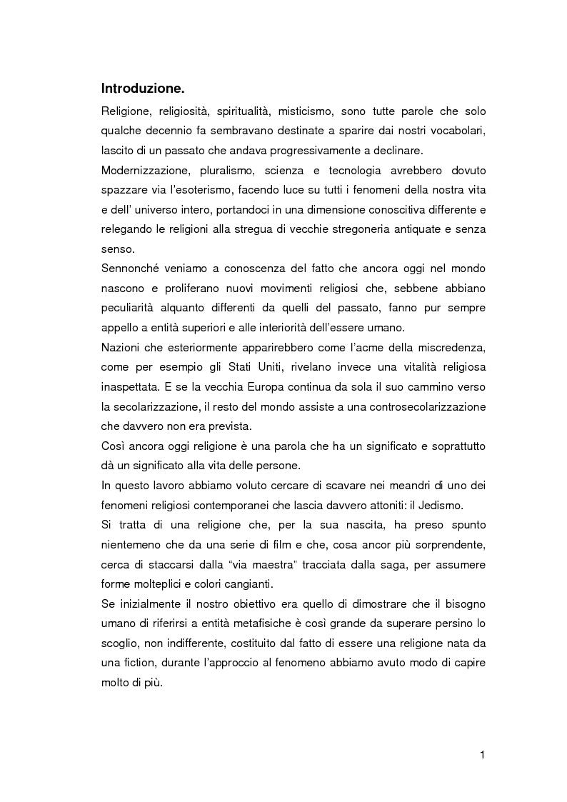 Anteprima della tesi: Jedismo. Sociologia di una religione nata al cinema., Pagina 1