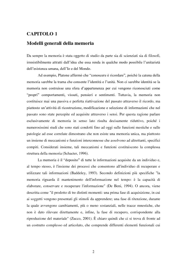 Anteprima della tesi: Memoria e deformazione dei ricordi nel disturbo post-traumatico da stress, Pagina 1