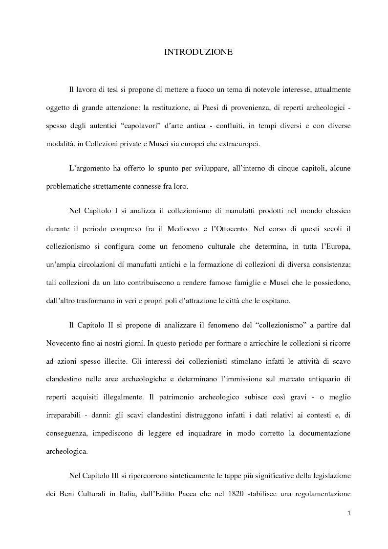 Anteprima della tesi: Dal collezionismo ai ''Tesori Restituiti'', Pagina 1