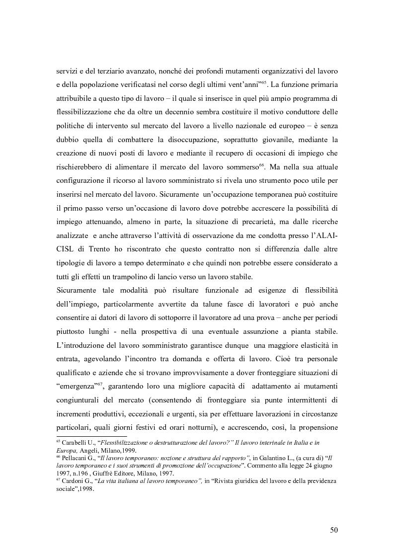 Anteprima della tesi: Quando il lavoro è ''somministrato''. Analisi etnografica presso l'Alai-Cisl di Trento. , Pagina 4