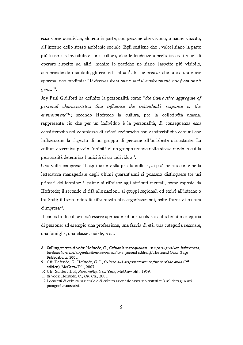 Anteprima della tesi: Culture nazionali e gestione d'impresa: il cross-cultural management, Pagina 5