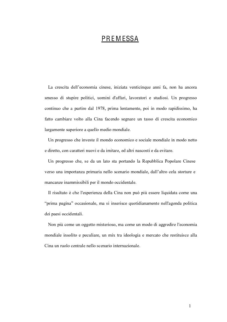 Anteprima della tesi: La tutela del lavoro nel quadro dell'attuale sistema produttivo in Cina, Pagina 1