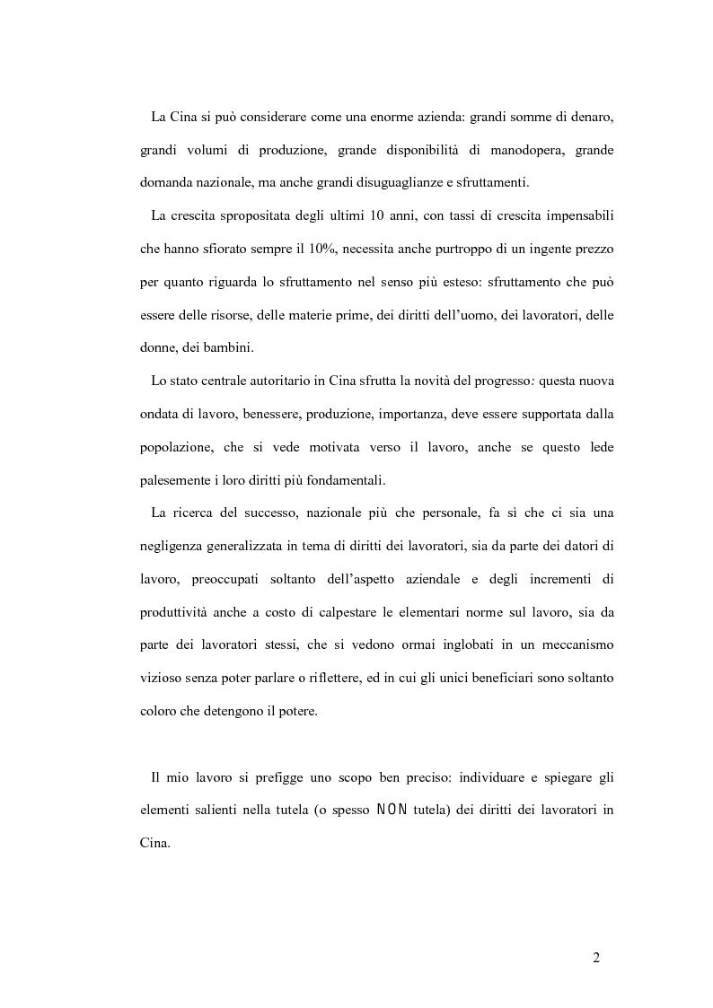 Anteprima della tesi: La tutela del lavoro nel quadro dell'attuale sistema produttivo in Cina, Pagina 2