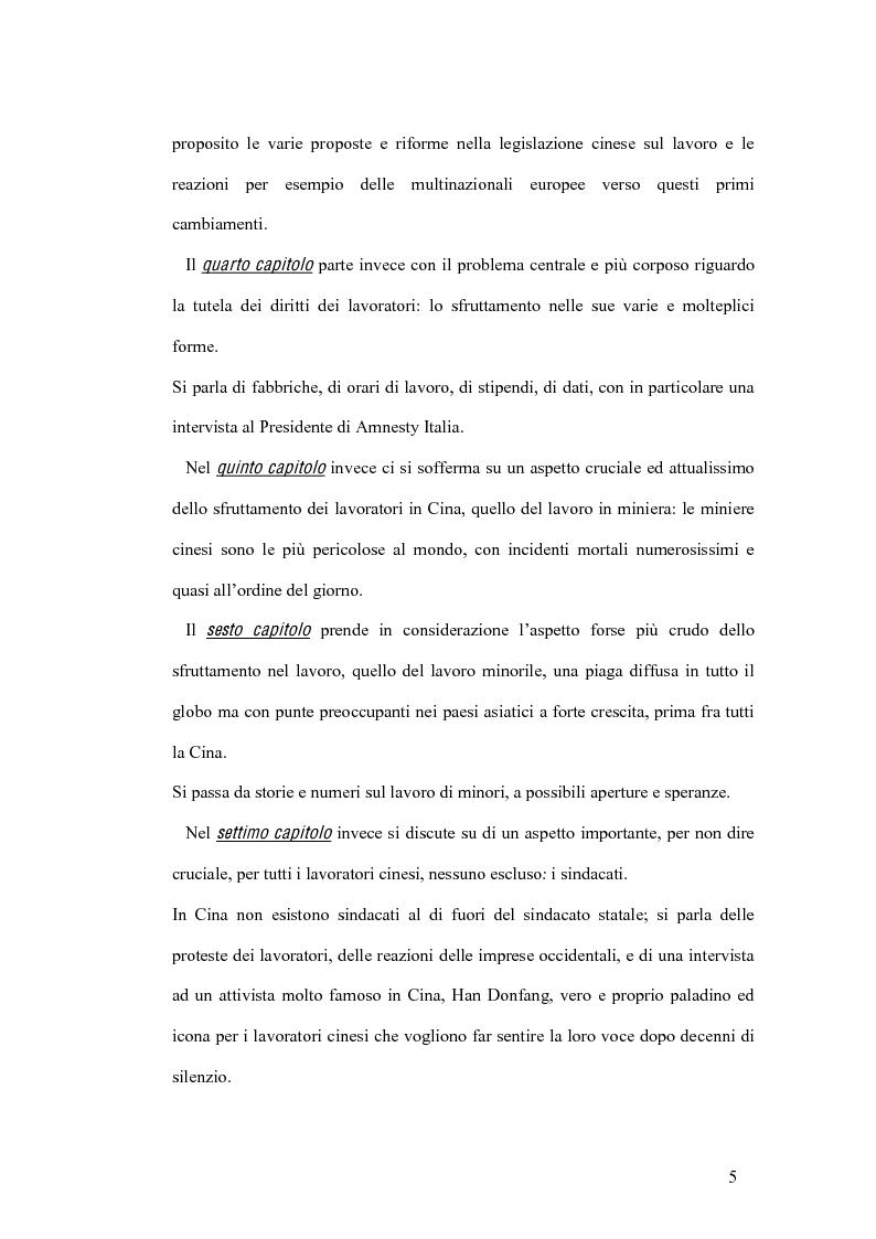 Anteprima della tesi: La tutela del lavoro nel quadro dell'attuale sistema produttivo in Cina, Pagina 5