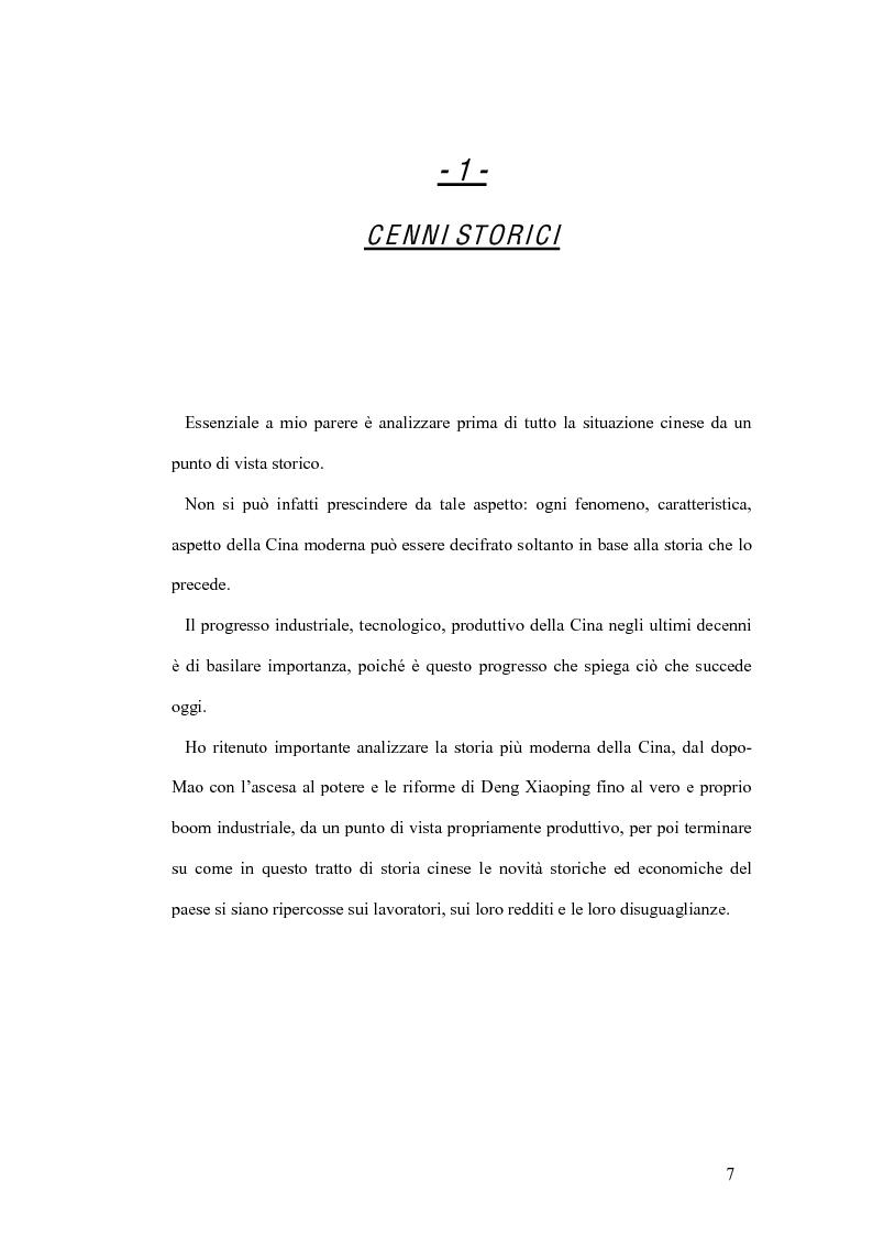 Anteprima della tesi: La tutela del lavoro nel quadro dell'attuale sistema produttivo in Cina, Pagina 7