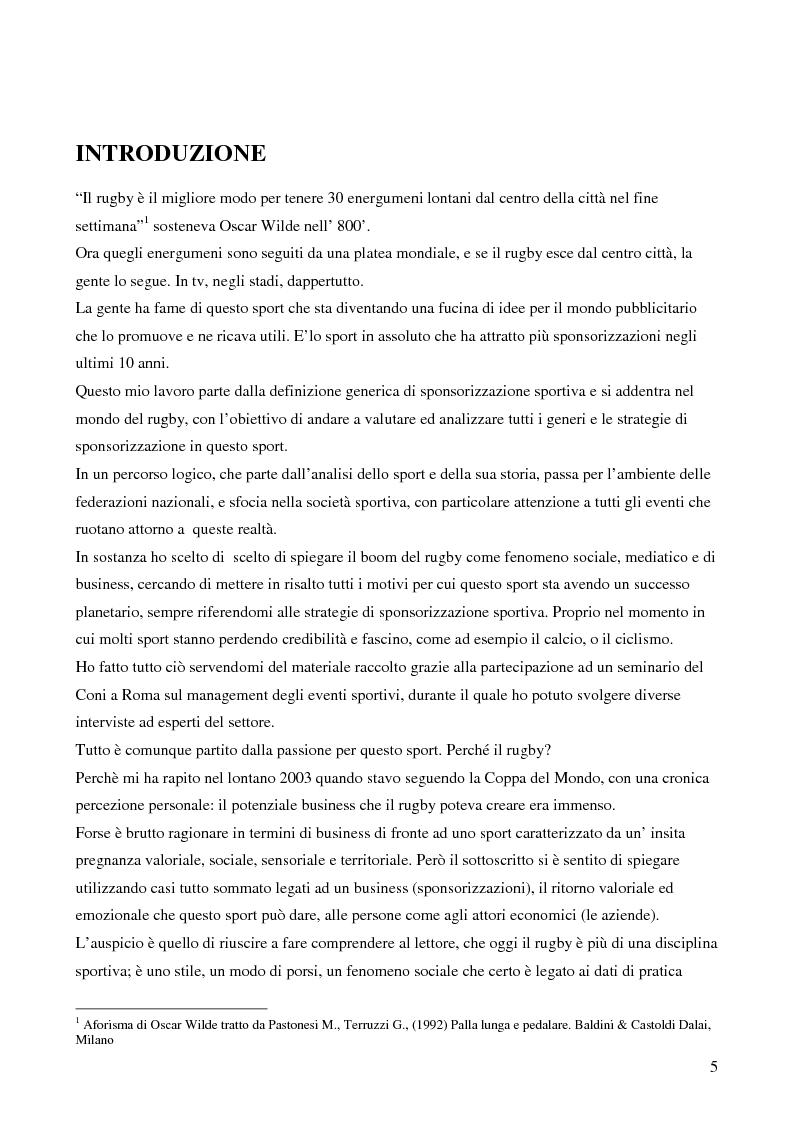 Anteprima della tesi: Strategie di sponsoring in ambito sportivo: il caso del rugby, Pagina 1