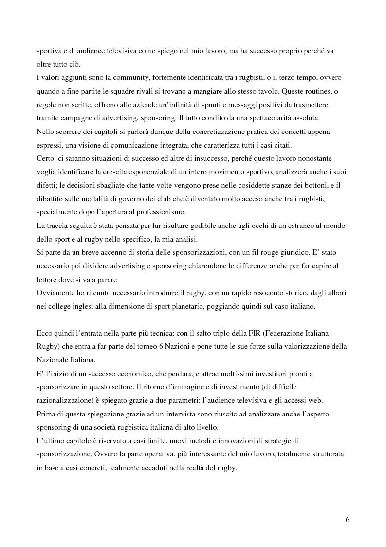 Anteprima della tesi: Strategie di sponsoring in ambito sportivo: il caso del rugby, Pagina 2