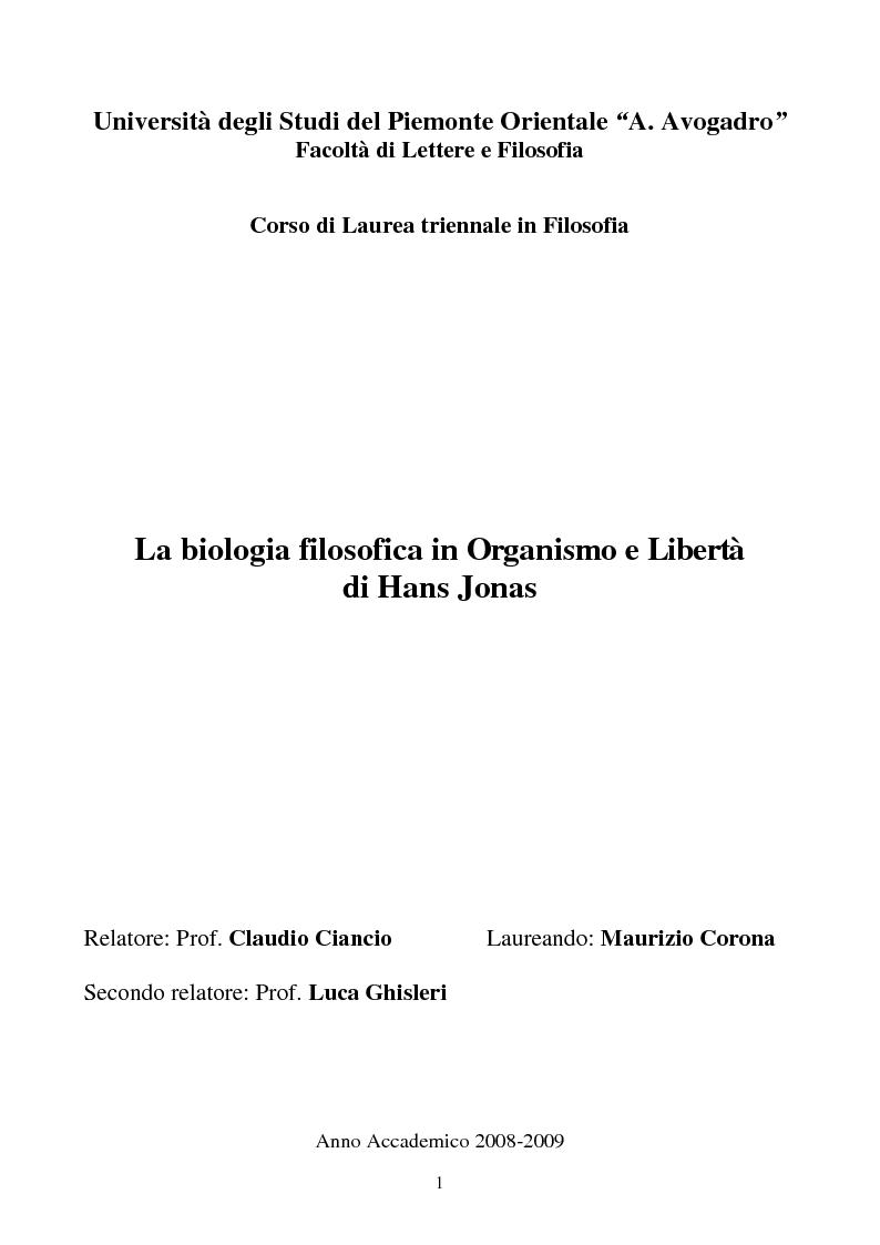 Anteprima della tesi: La biologia filosofica in ''Organismo e Libertà'' di Hans Jonas, Pagina 1