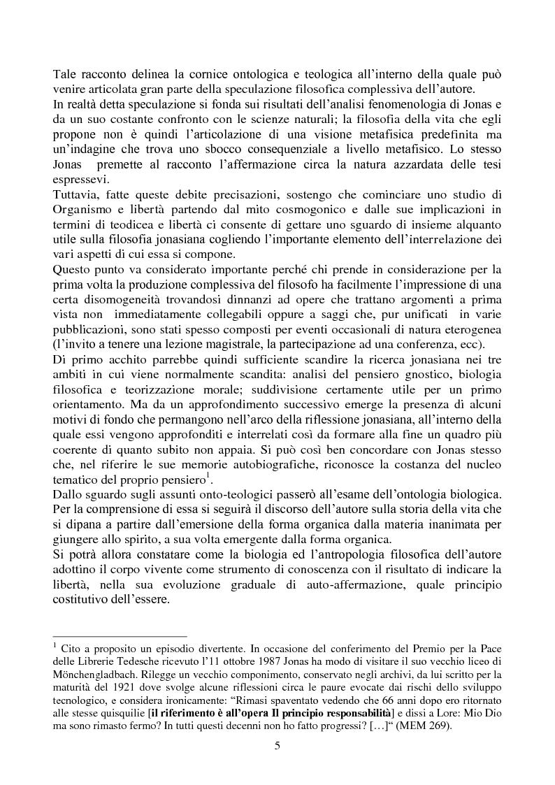 Anteprima della tesi: La biologia filosofica in ''Organismo e Libertà'' di Hans Jonas, Pagina 3