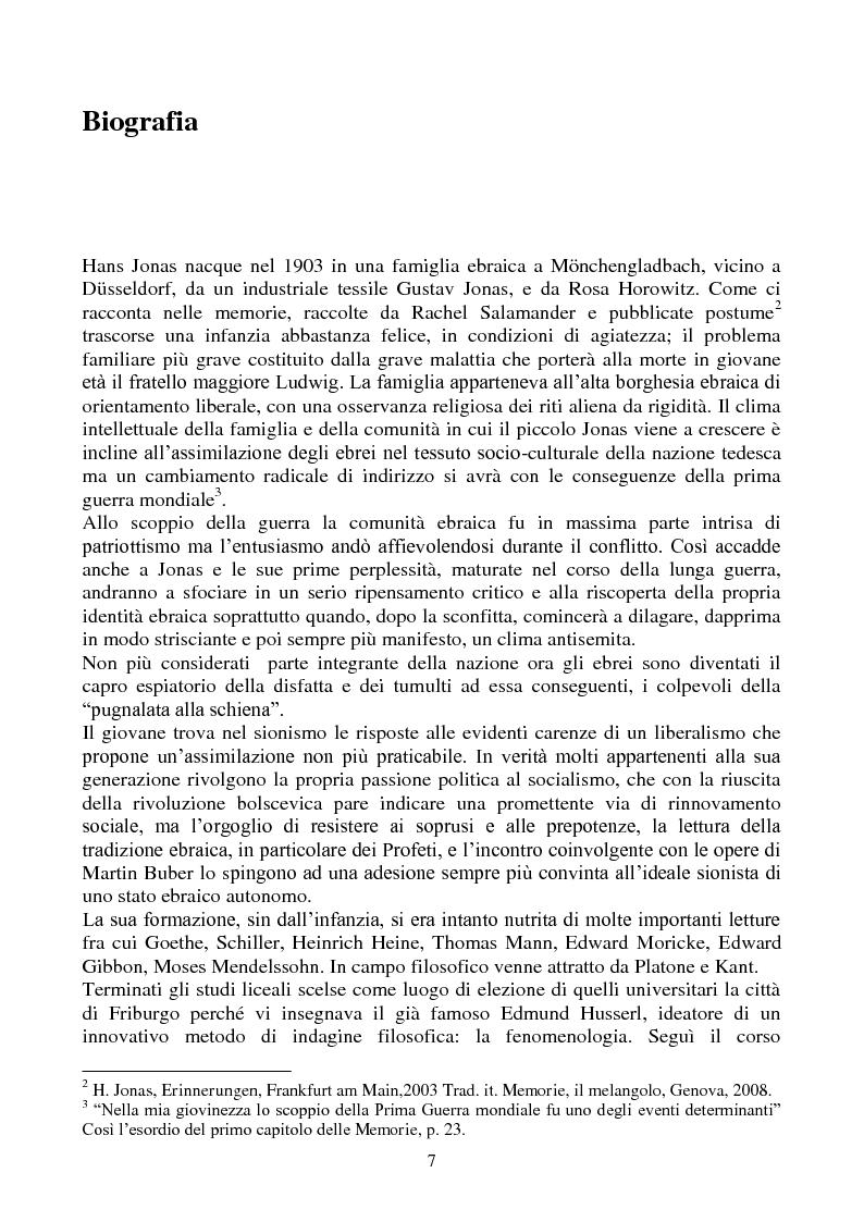 Anteprima della tesi: La biologia filosofica in ''Organismo e Libertà'' di Hans Jonas, Pagina 5