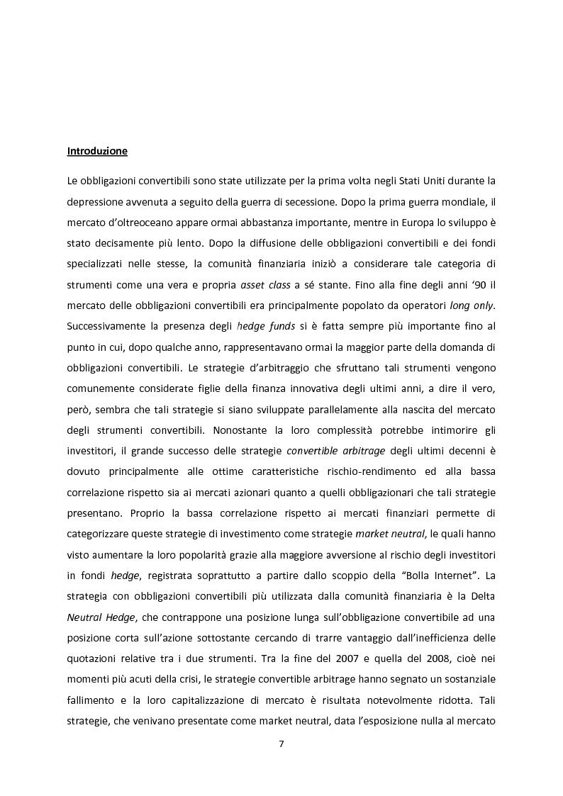 Anteprima della tesi: Le strategie convertible arbitrage attraverso la crisi, Pagina 1